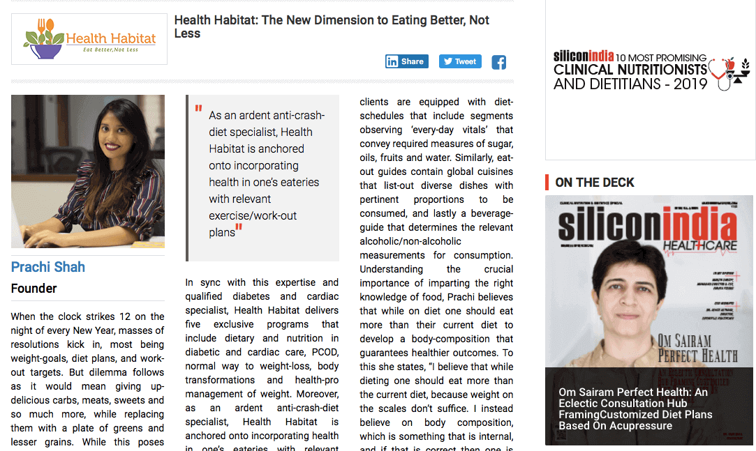 Silicon India Healthcare - 10 Most promising clinical nutritionist & dietitian 2019